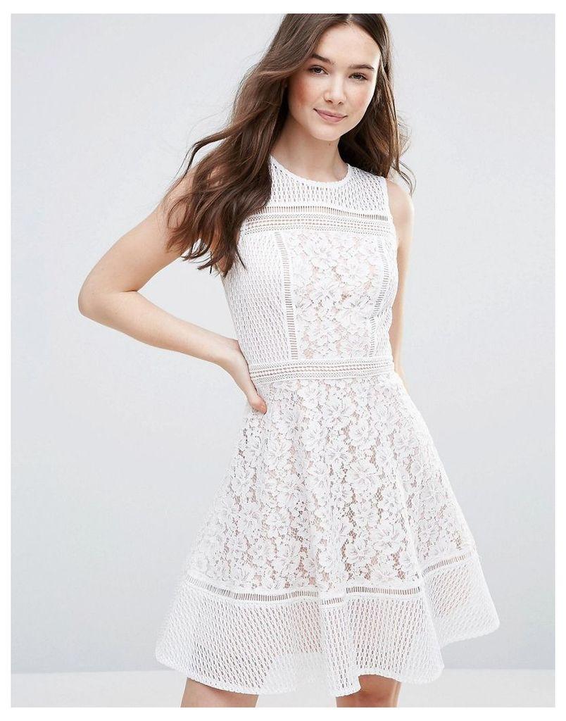 Glamorous Lace Skater Dress - White