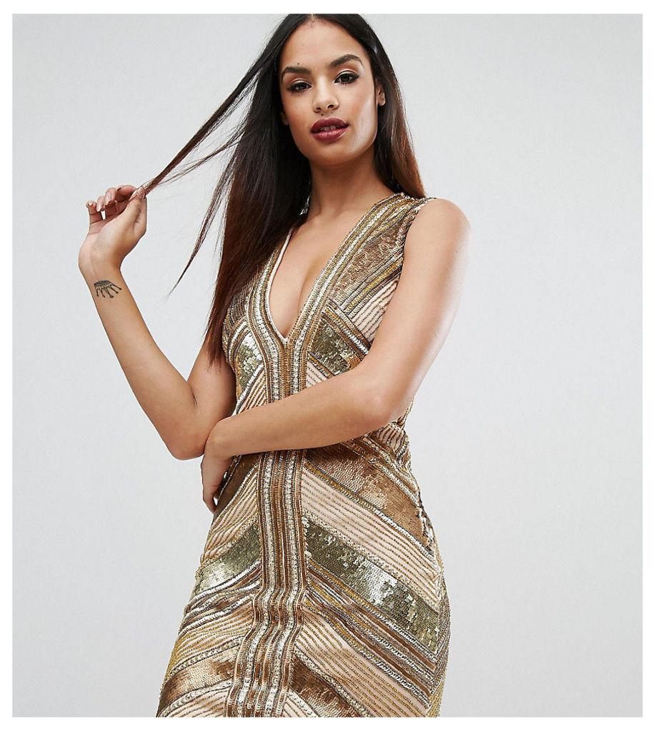 Starlet Panelled Sequin Mini Dress - Gold