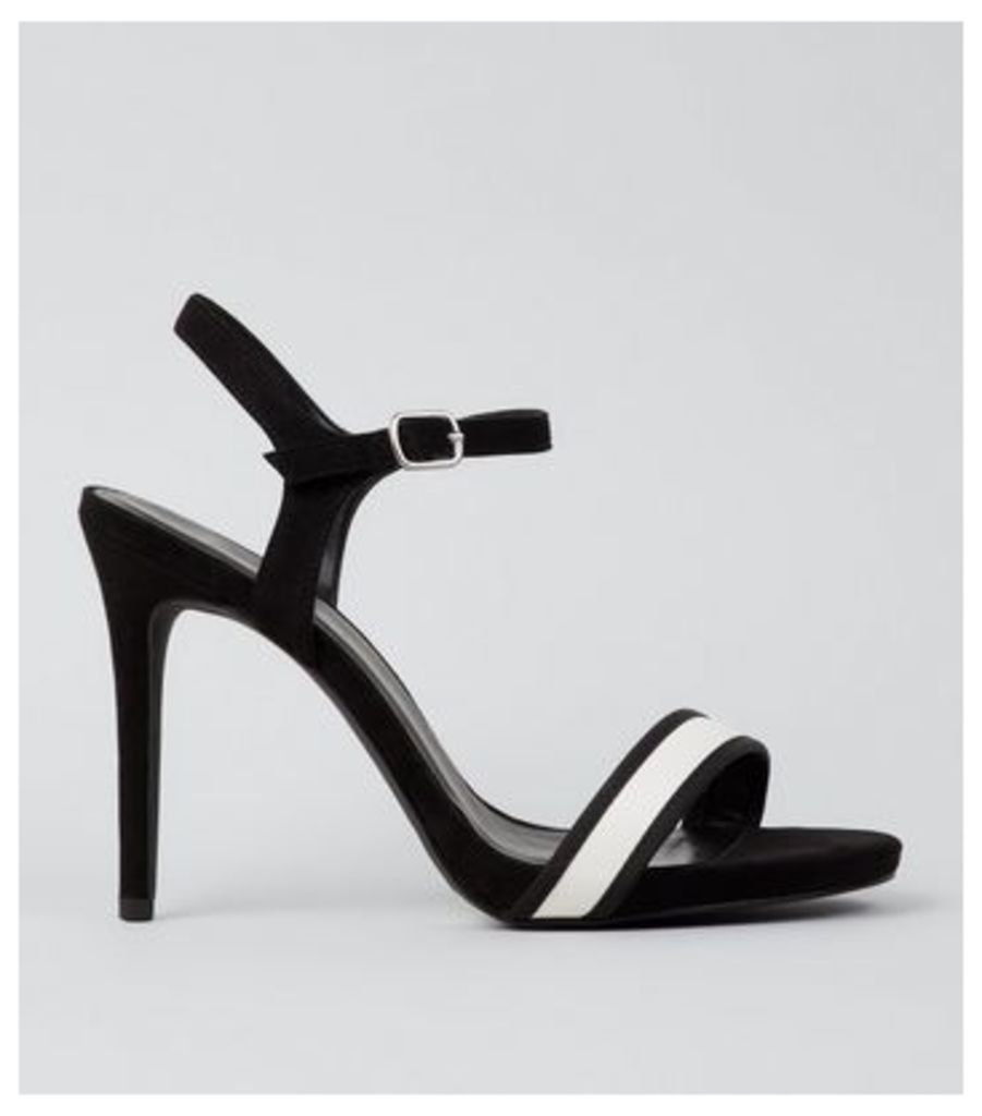 Wide Fit Black Stripe Panel Heeled Sandals New Look