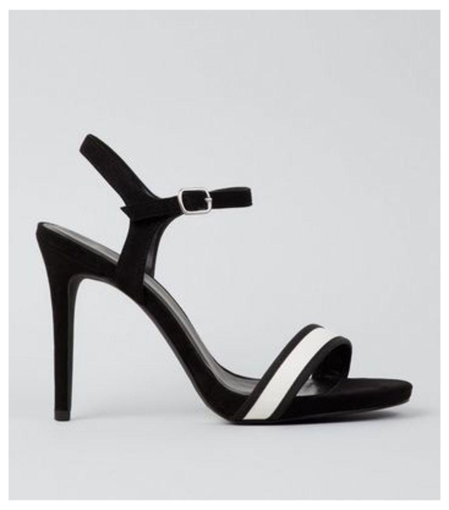 Wide Fit Black Stripe Panel Heeled Sandals New Look
