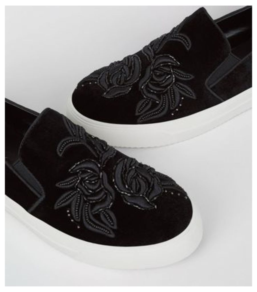 Black Velvet Floral Embroidered Slip On Plimsolls New Look