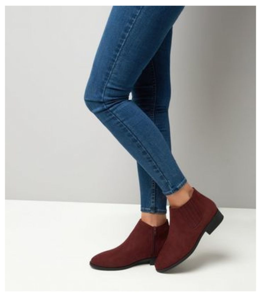Wide Fit Dark Red Suedette Chelsea Boots New Look