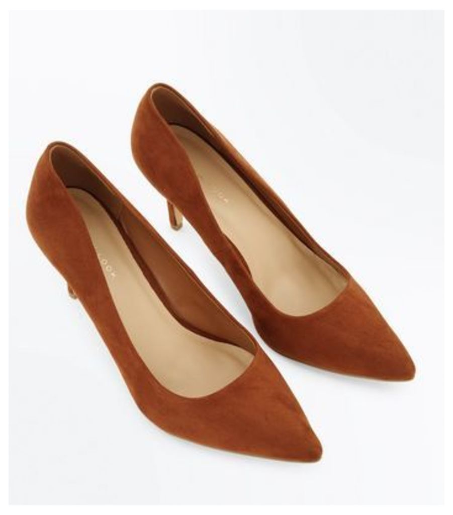 Tan Suedette Mid Heel Pointed Court Shoes New Look