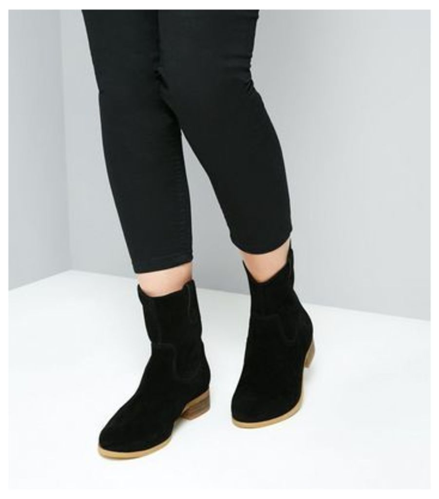 Black Suede Western Chelsea Ankle Boots New Look