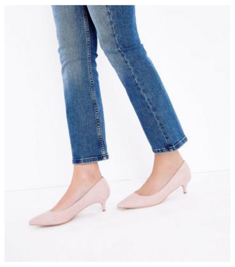 Nude Suedette Kitten Heel Court Shoes New Look