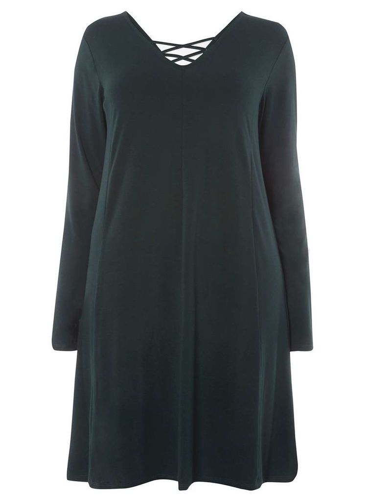 Womens **Juna Rose Curve Green Cross Back Swing Dress- Green