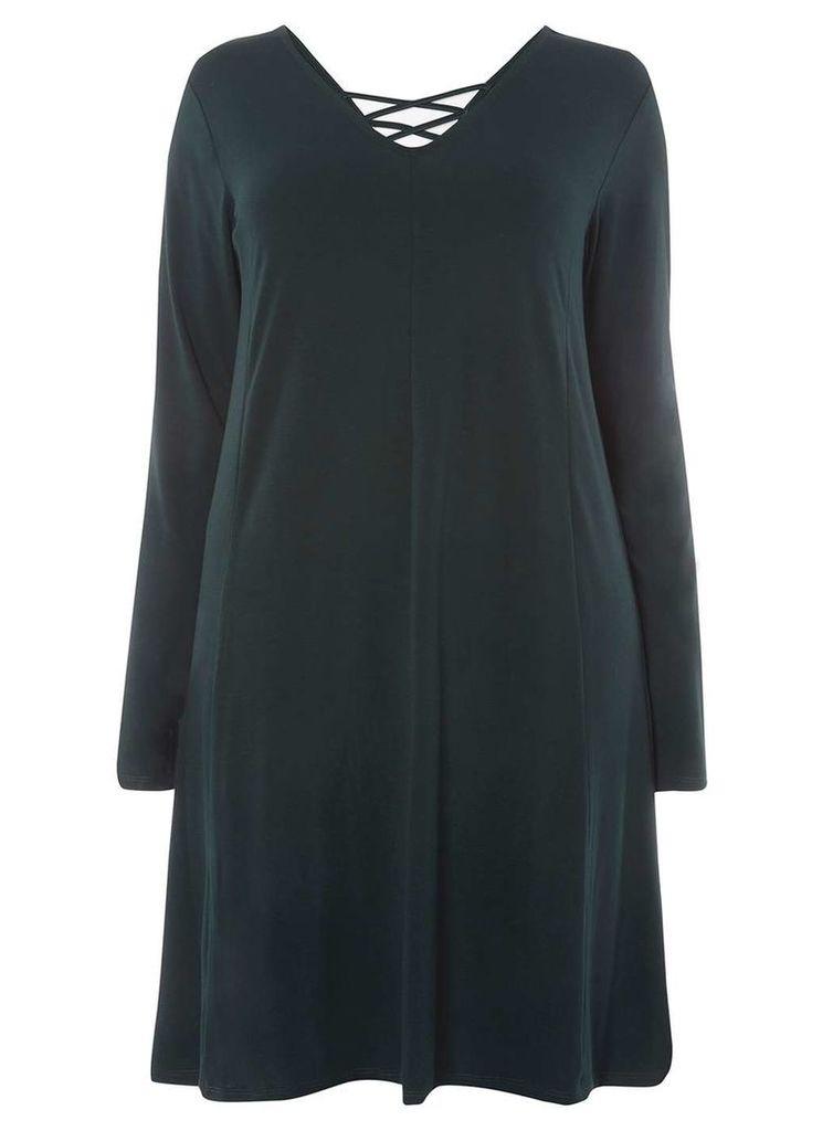 Womens **Juna Rose Curve Green Cross Back Swing Dress- Green