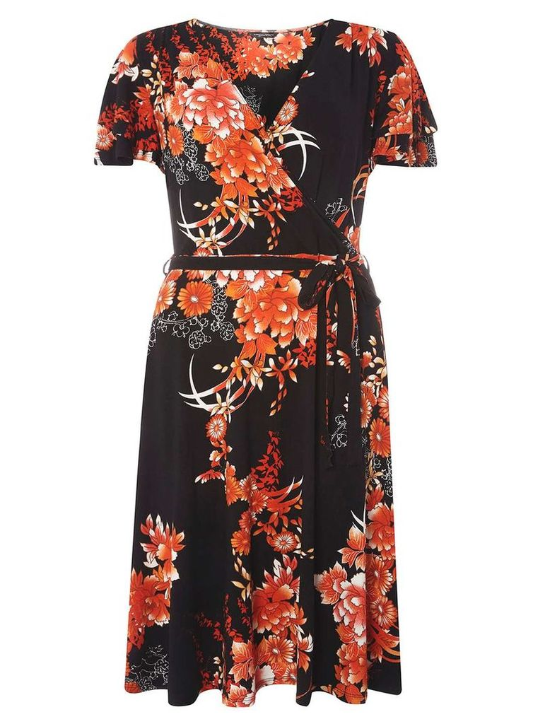 Womens **Tall Oriental Floral Wrap Fit and Flare Dress- Black