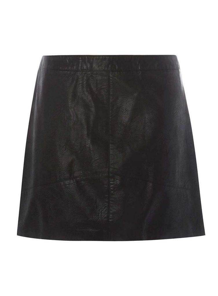 Womens DP Curve Plus Size Black PU Mini Skirt- Black