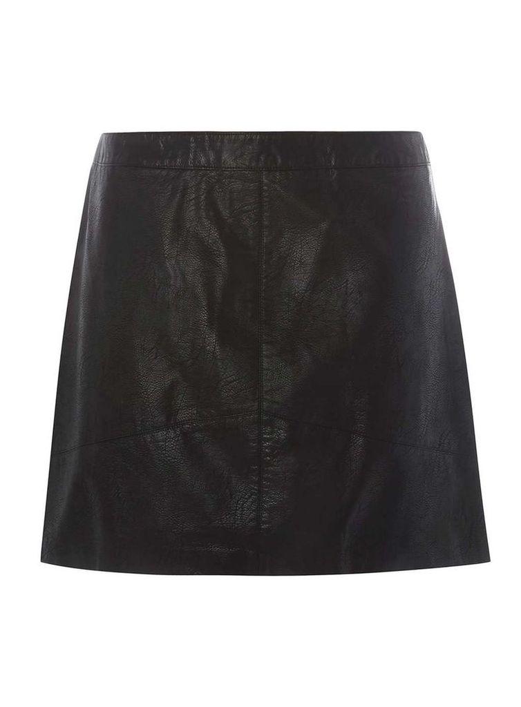 Womens DP Curve Plus Size Black PU Mini Skirt- Black