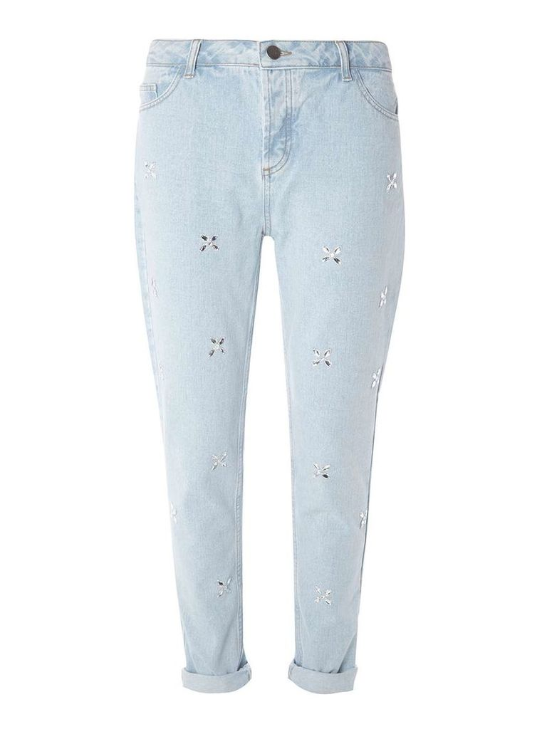Womens Blue Light Wash Embellished Jeans- Blue