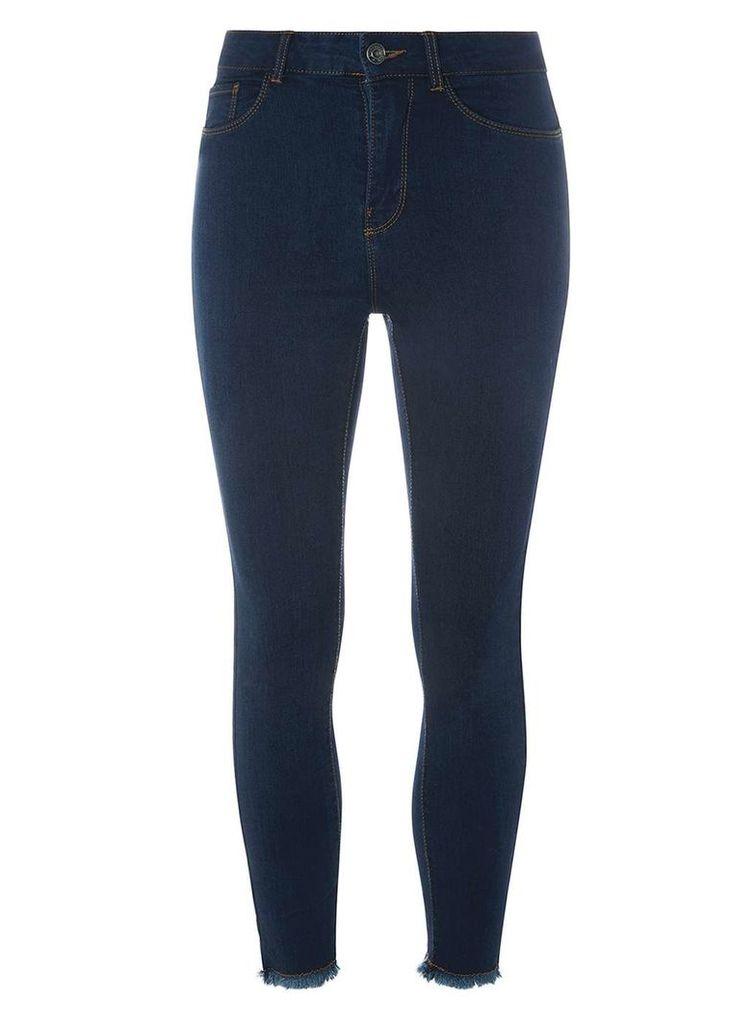 Womens **Vero Moda Blue Raw Ankle Skinny Fit Jeans- Blue