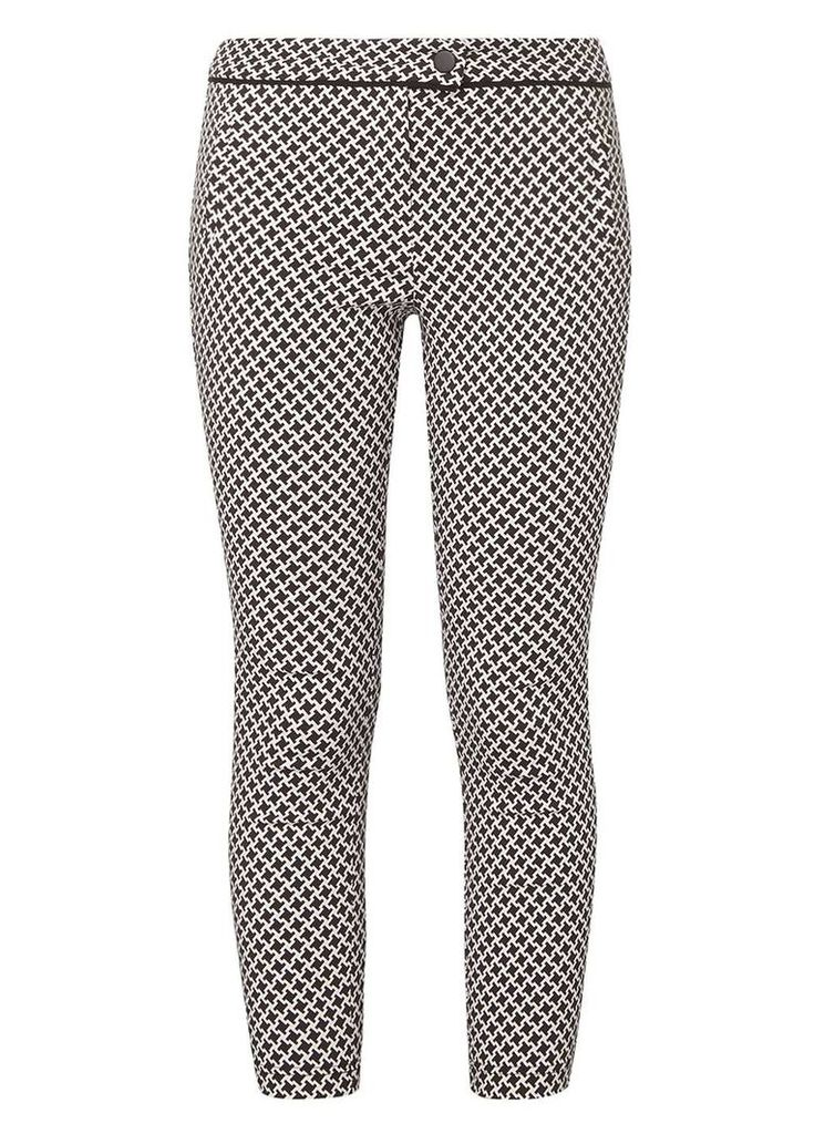 Womens Petite Monochrome Dogtooth Print Bengaline Trousers- Multi