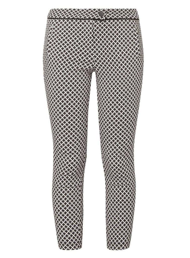 Womens Petite Monochrome Dogtooth Print Bengaline Trousers- Multi