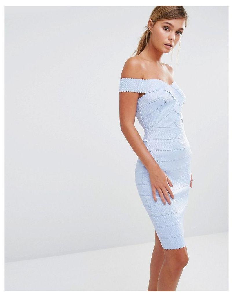 New Look Bandage Bardot Bodycon Dress - Light blue
