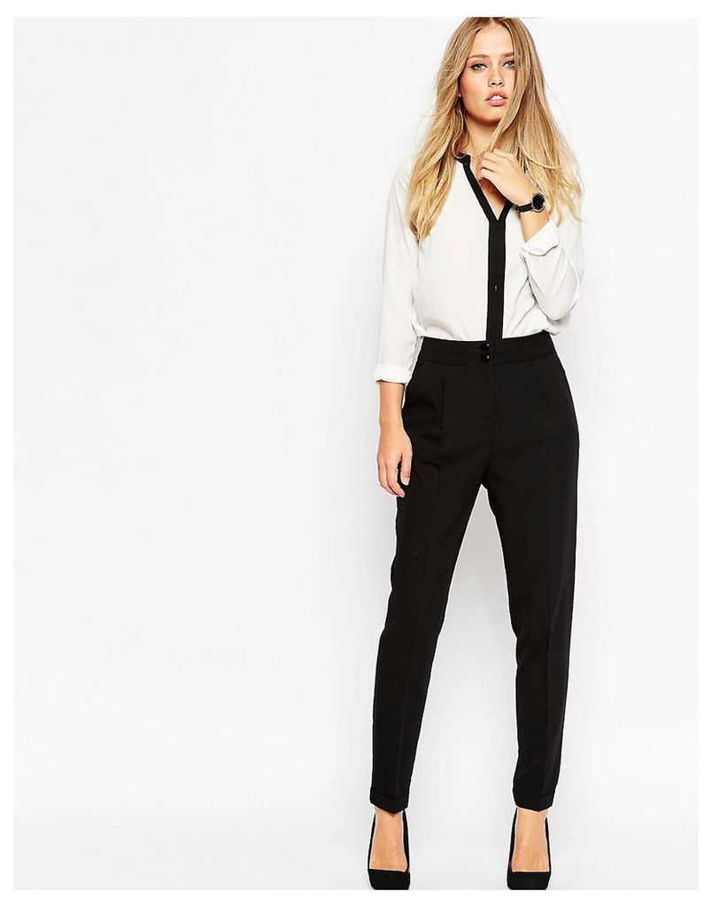 ASOS Tailored High Waisted Trousers with Turn Up Detail - Black