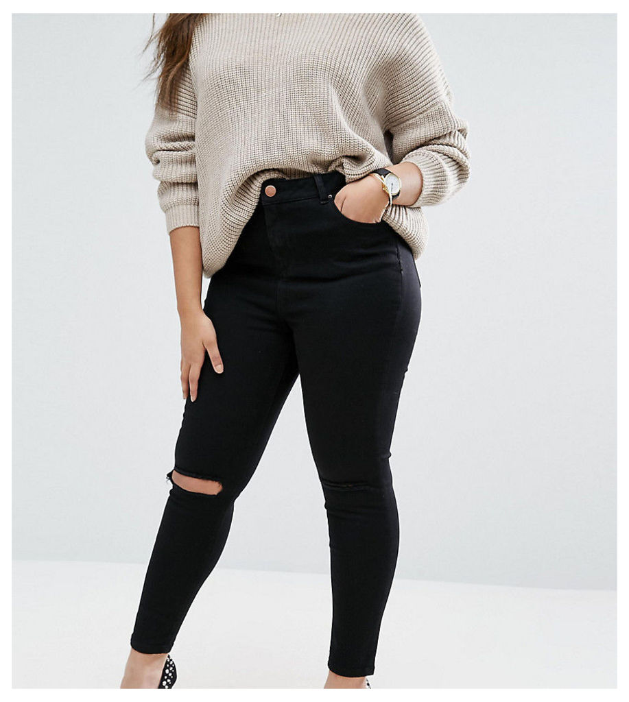 ASOS CURVE Ridley Skinny Jeans in Clean Black with Rip & Destroy Busts - Clean black