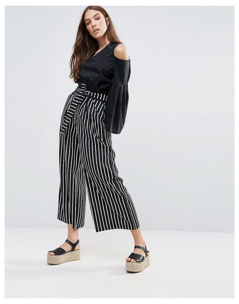 Liquorish Striped Wide Leg Trousers With Tie - Multi