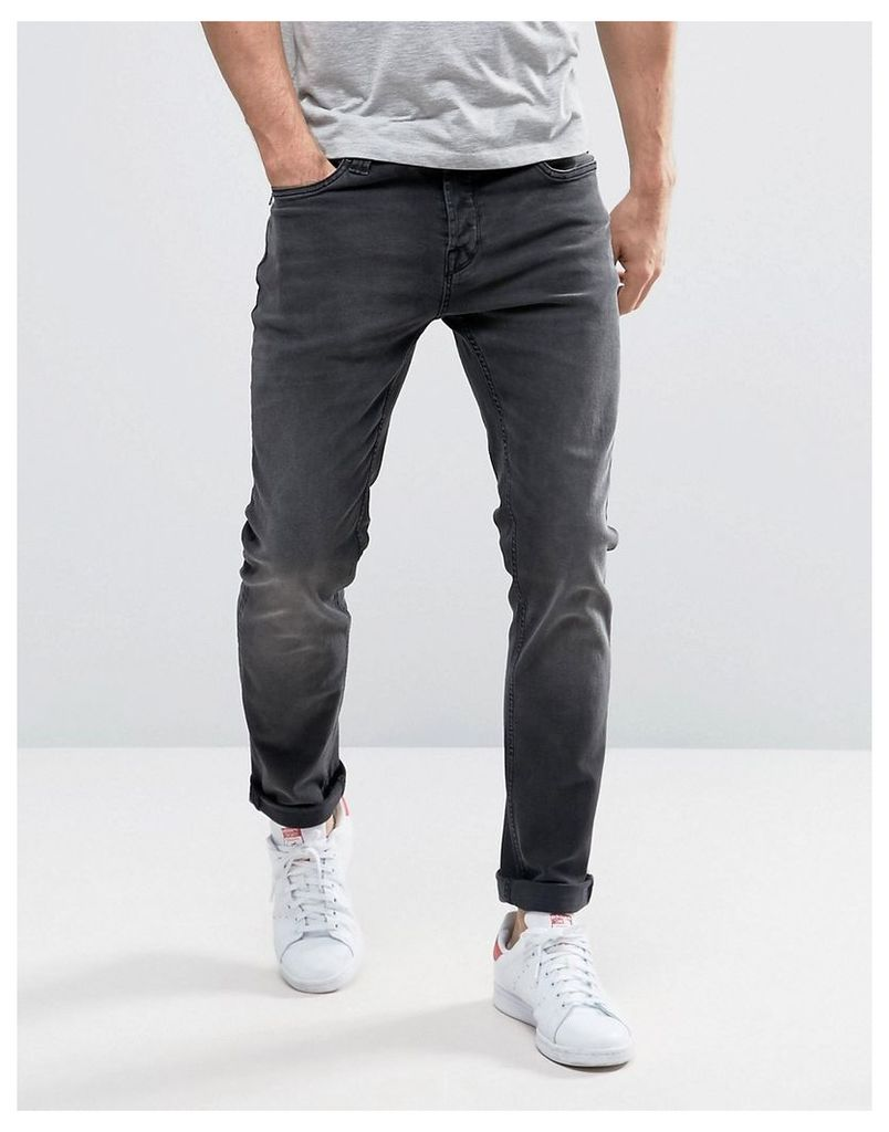 Only & Sons Slim Fit Stretch Jeans in Washed Black - Black