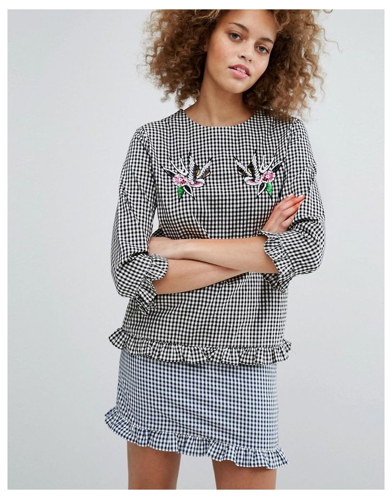 STYLENANDA Gingham Top With Sequin Patches - Navy