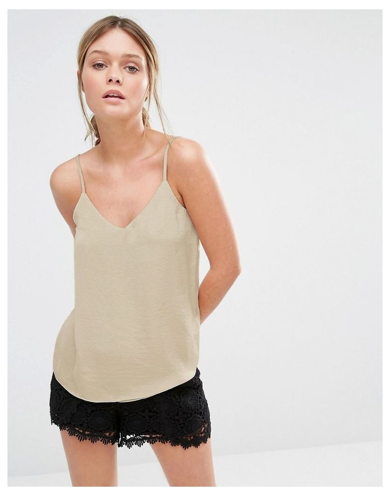 New Look Satin V Neck Cami Top - Nude