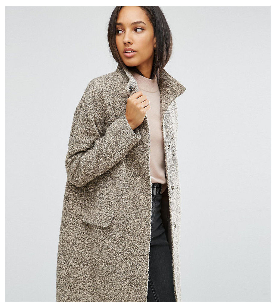 ASOS TALL Oversized Coat in Wool Blend with Funnel Neck - Nude