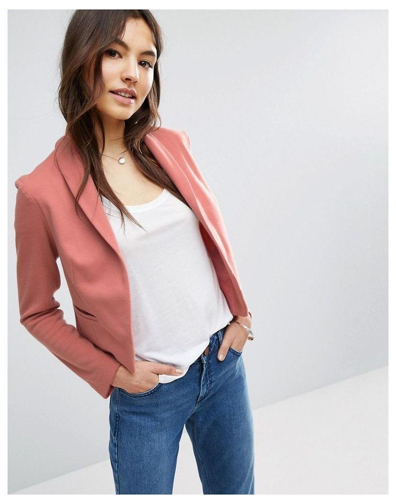 ASOS Ponte Jacket with Shawl Collar Detail - Dusty pink