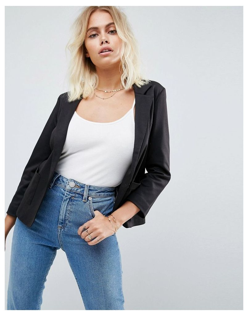 ASOS Ponte Blazer with Tailored Collar - Black