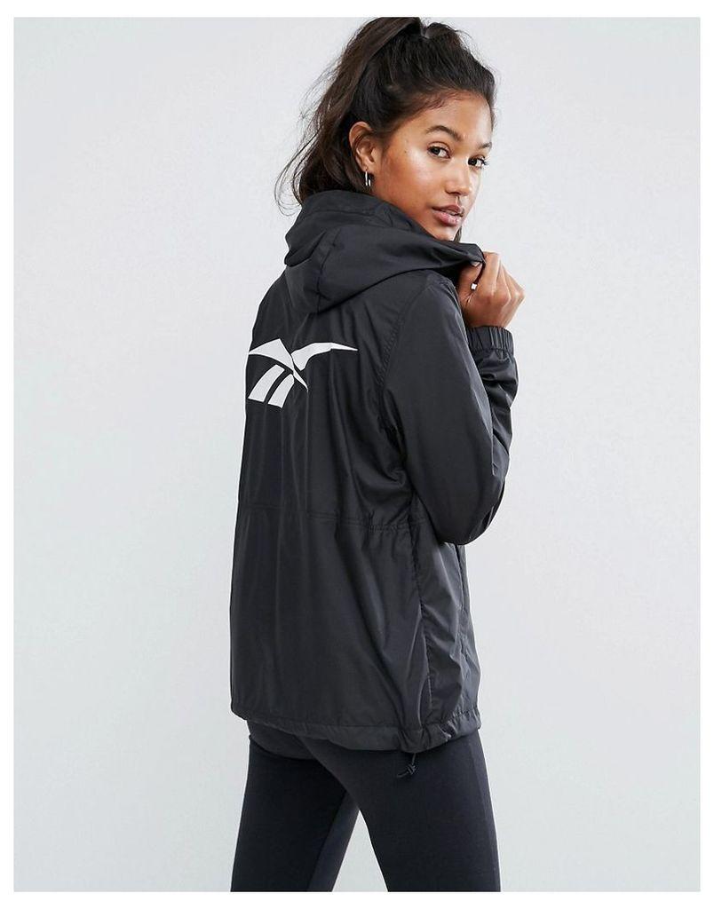Reebok Classics Black Windbreaker Jacket With Back Print - Black/black