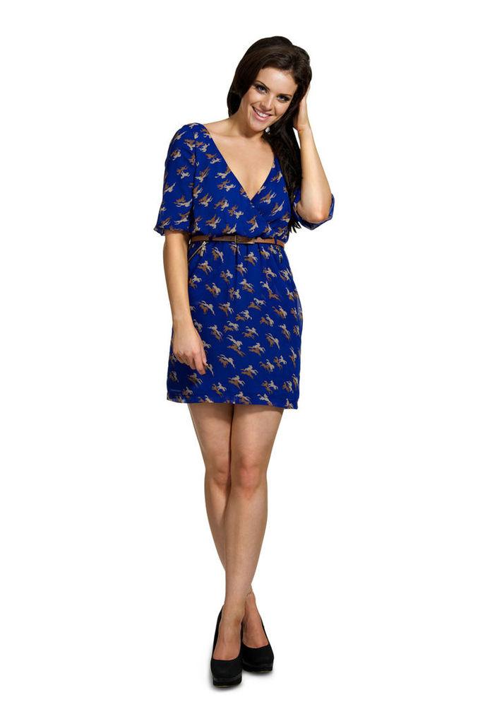 Madam Rage Blue Horse Print Wrap Dress-8