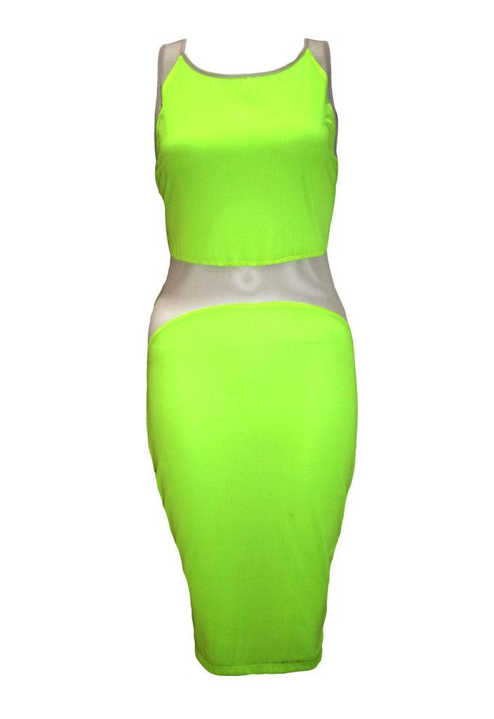 Neon Bodycon Mesh Panel Dress