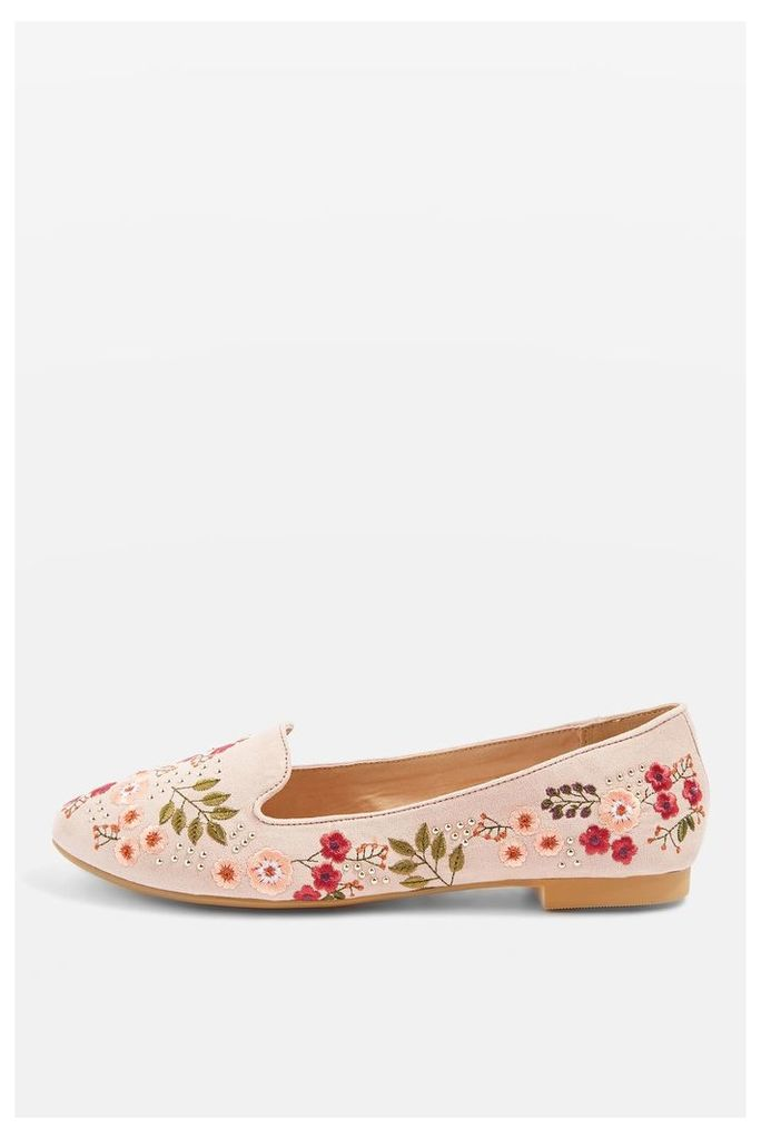 Womens SUGAR Embroidered Slip On Flat Shoes - Nude, Nude