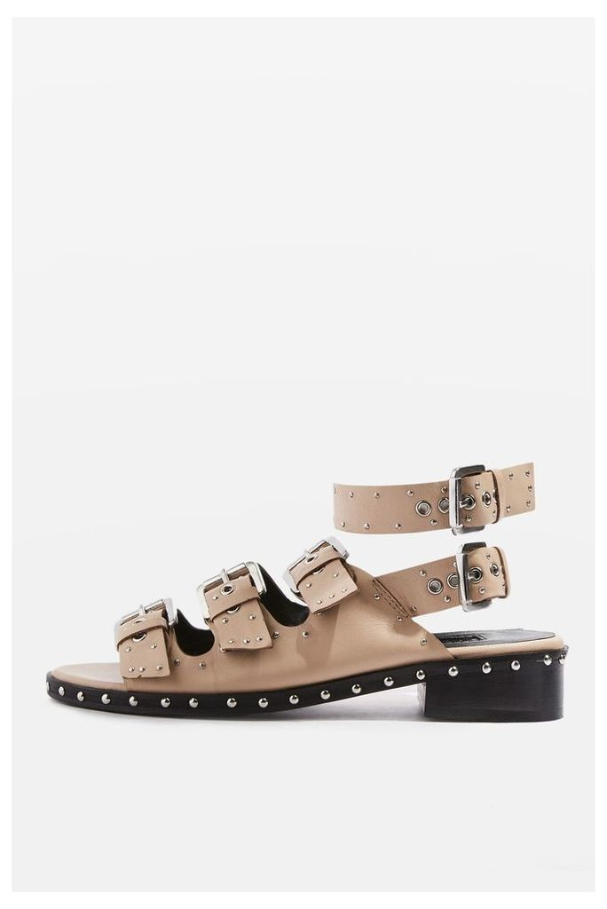 Womens FRANK Buckle Sandals - Nude, Nude