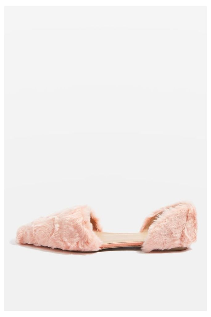 Womens ALI Faux Fur Two Part Flats - Pink, Pink