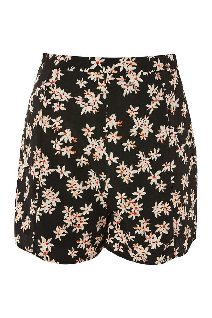 Womens **A-Line Daisy Print Shorts by Glamorous Petite - Black, Black