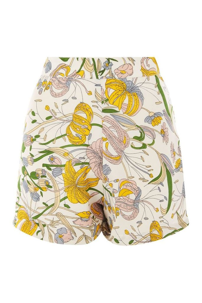 Womens **Floral Print A-Line Shorts by Glamorous Tall - White, White