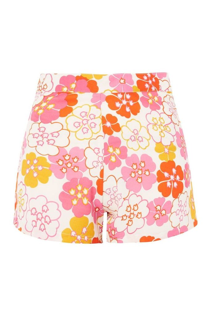 Womens **Floral Print Shorts by Glamorous Petite - Pink, Pink