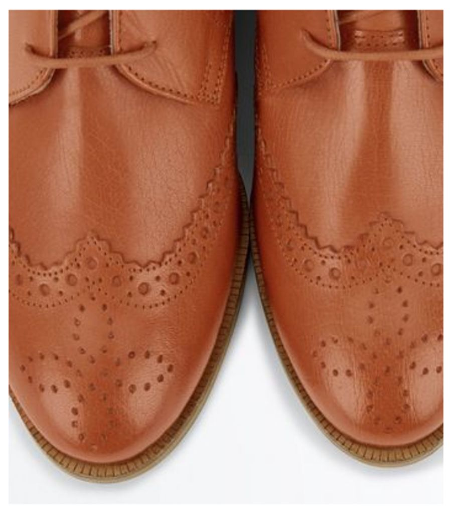Tan Leather Lace Up Brogue Boots New Look