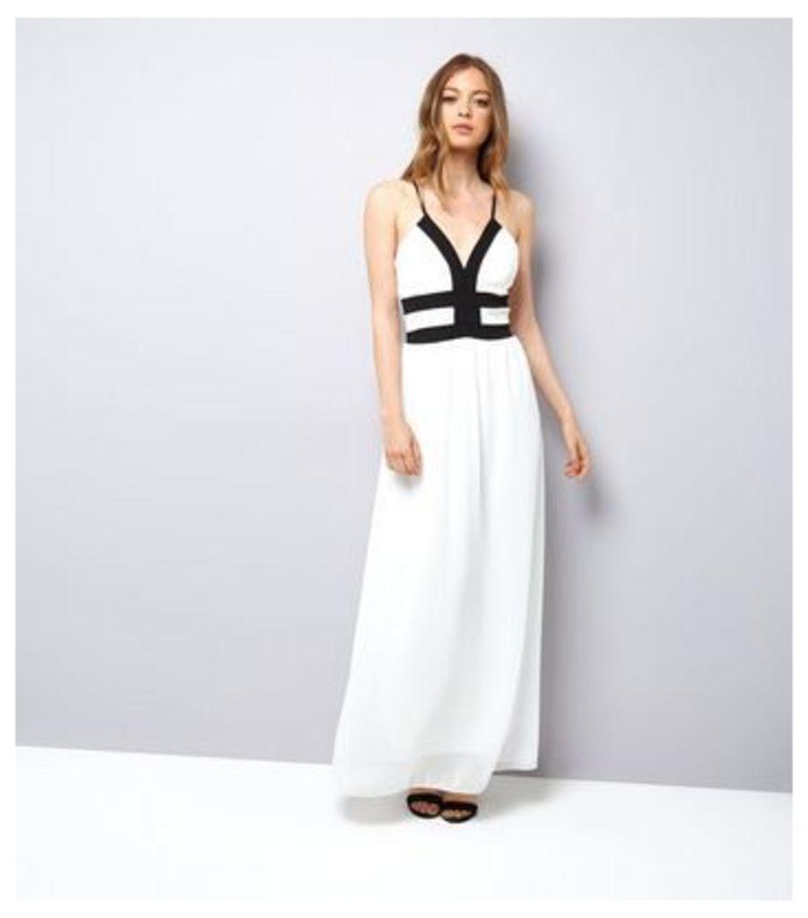 Mela White Contrast Trim Maxi Dress New Look