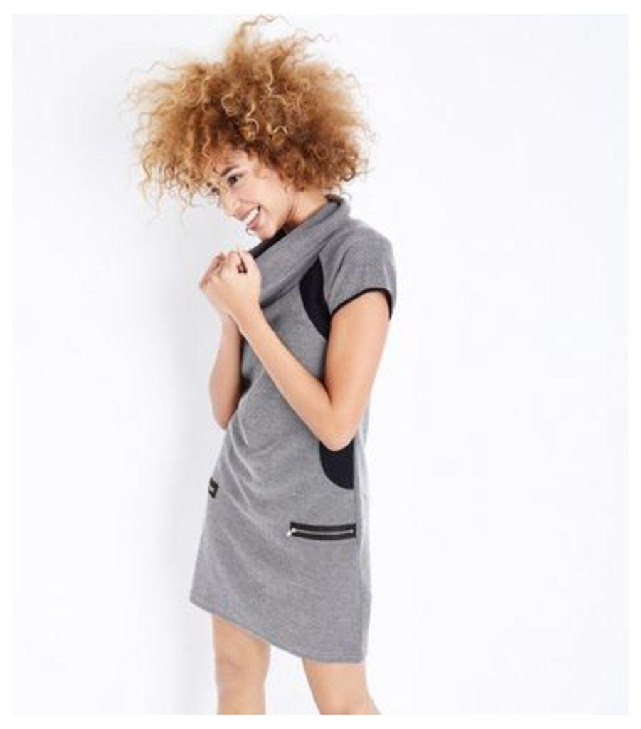Mela Grey Cowl Neck Zip Pocket Dress New Look