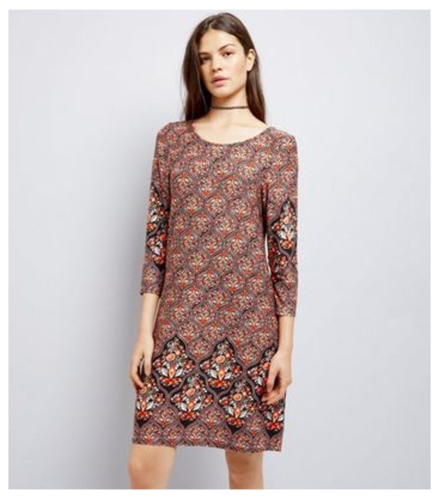 Apricot Brown Abstract Print Swing Dress New Look