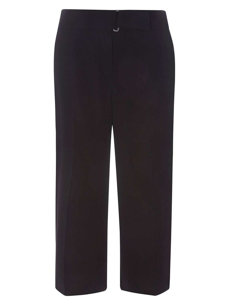 Womens Extended Tab Wide Leg Cropped Trousers- Black