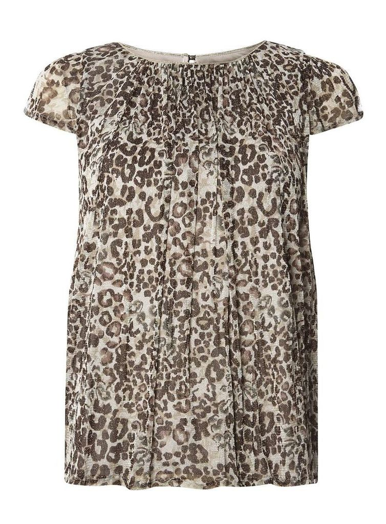 Womens **Billie & Blossom Animal Print Blouse- Silver