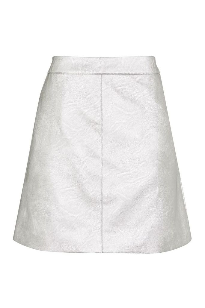 Womens PETITE PU Classic Skirt - Silver, Silver