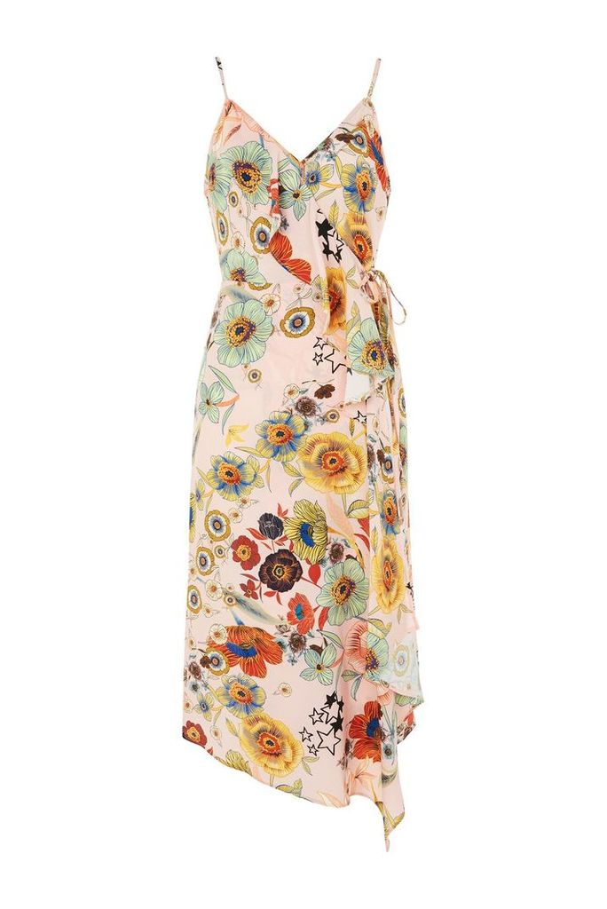 Womens Star & Floral Ruffle Slip Dress - Nude, Nude