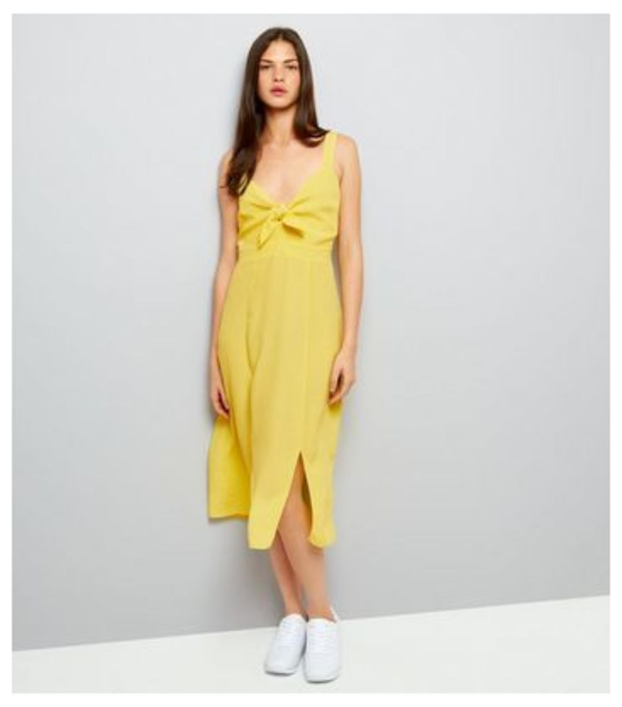 Yellow Bow Front Split Front Midi Dress New Look