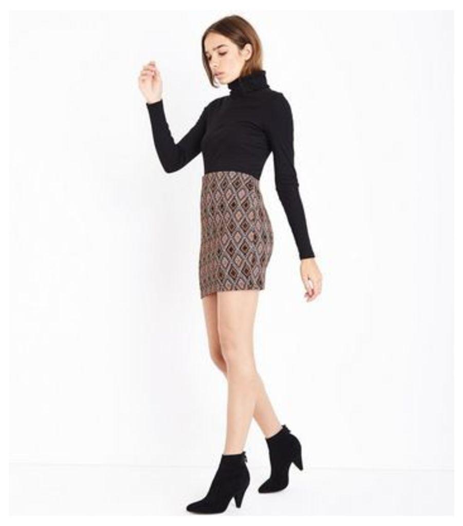 Tall Black Diamond Jacquard Tube Skirt New Look
