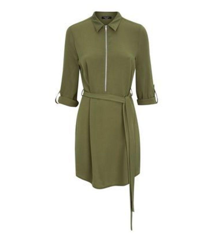 Petite Khaki Zip Front Collared Dress New Look