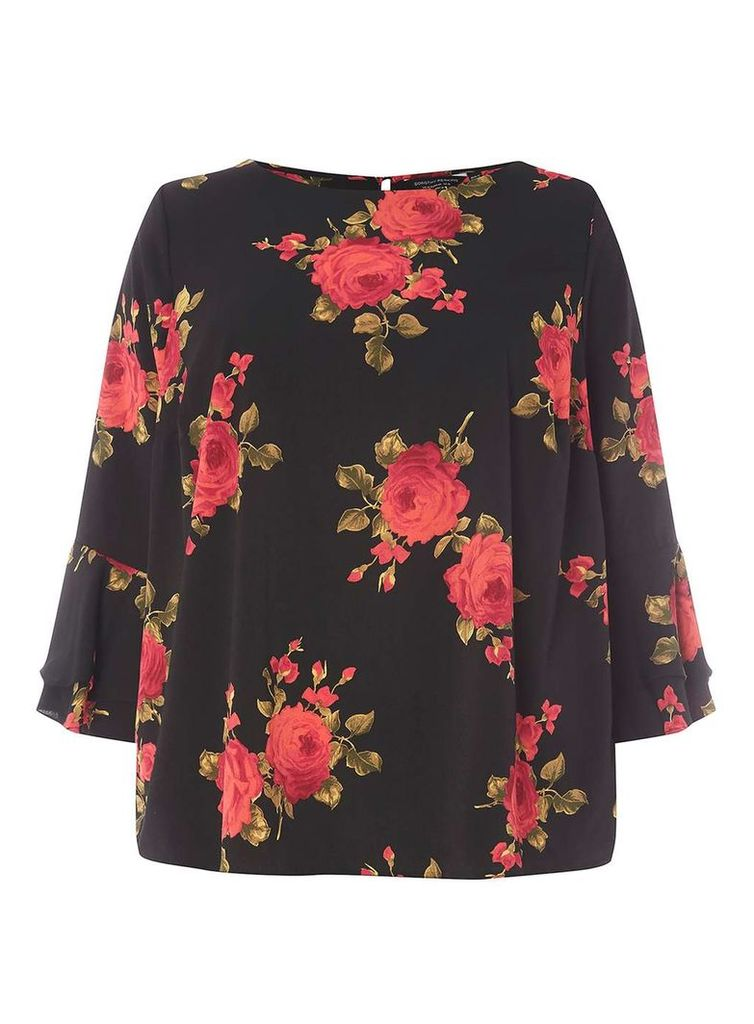 Womens DP Curve Plus Size Black Floral Print Double Layer Top- Black