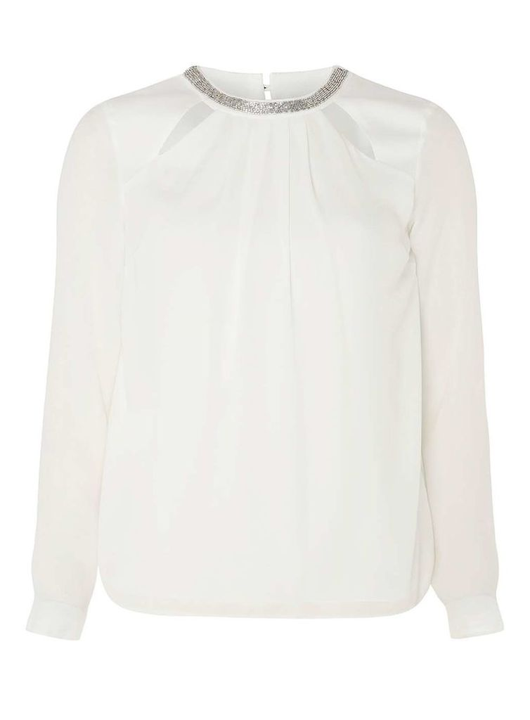 Womens Ivory Embellished Neck Top- White